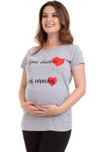 Camiseta Gestante Manga Curta Estampada Luna Cuore Feminina - Feminino-Cinza