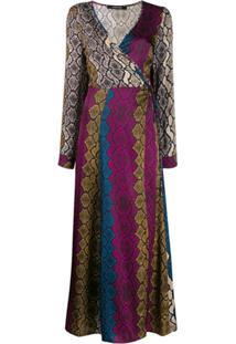 Andamane Snakeskin Print Wrap Dress - Preto