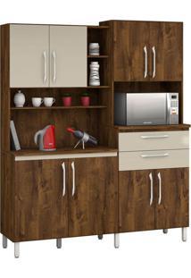 Armário De Cozinha Rubi 8 Portas Malbec Com Camurça Vitamov