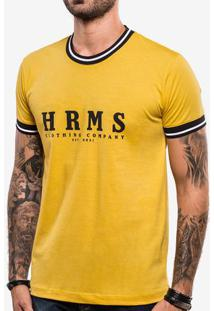 Camiseta Hrms Amarela Gola Listrada 103740