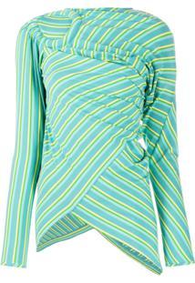 Kiko Kostadinov Blusa Assimétrica Com Listras - Azul