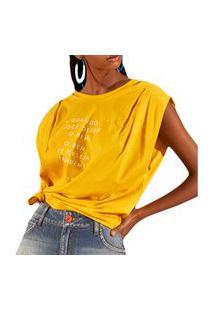Camiseta Colcci Loose Amarelo Feminino