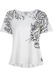 Camiseta Rosa Chá Florence Malha Branco Feminina (Branco, P)