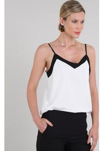 Regata Feminina Bicolor Decote V Off White
