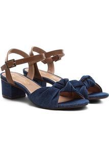 Sandália Via Uno Salto Grosso Baixo Nó Jeans Feminina - Feminino-Jeans