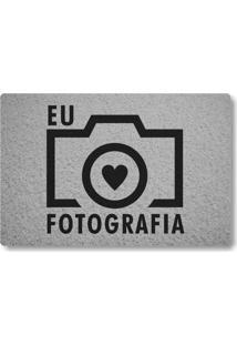 Tapete Capacho Eu Amo Fotografia - Prata
