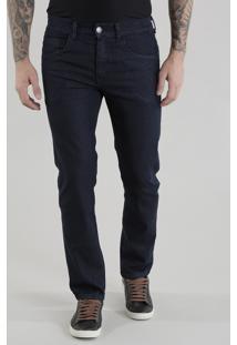 Calça Jeans Slim Em Algodão + Sustentável Azul Escuro