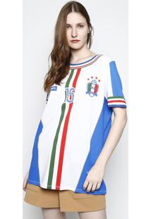 Camiseta ''Italy'' & Listras - Branca & Azulmy Favorite Things
