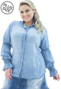 Camisa Jeans Plus Size - Confidencial Extra Manga Longa Flare Plus Size Azul