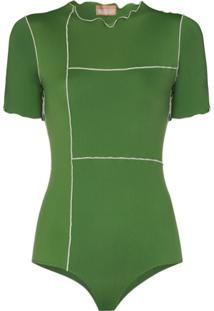 Fantabody Valentina Leo Short-Sleeve Bodysuit - Verde