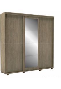 Guarda-Roupa 3 Portas De Correr 6 Gavetas Com Pés Inovatto 100% Mdf 230 X 227 X 60 Com Espelho Ébano - Belmax Móveis
