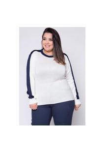 Blusa Almaria Plus Size Kalanchoe Tricot Bicolor Off-White