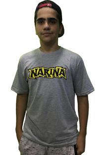 Camiseta Narina Skate Old School Logo Cinza