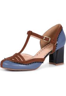 Sapato Mantoan Scarpin Fivela Salto Alto Em Couro - Feminino-Azul Claro