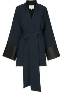 Layeur Kimono Com Bolsos - Azul