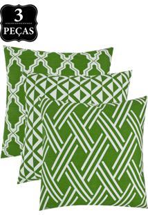 Kit Capa Para Almofada Decortextil 3 Peças Verde