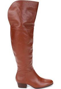 Bota Over The Knee Lisa Em Couro- Marrom- Salto: 4Cmshoestock