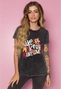 T-Shirt Sislla Make Art Feminino - Feminino-Chumbo