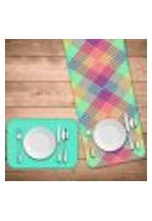 Jogo Americano Com Caminho De Mesa Wevans Geométricos Coloridos Kit Com 4 Pçs + 1 Trilho