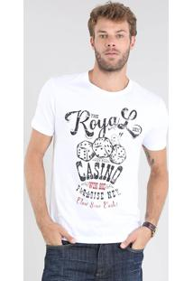 "Camiseta Masculina ""The Royal Casino"" Manga Curta Gola Careca Branca"