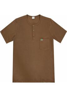 Camiseta Pau A Pique Botões Marrom