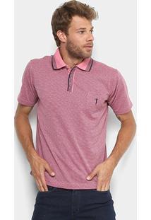 Camisa Polo Em Jacquard Aleatory Manga Curta Masculina - Masculino-Rosa