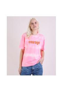 "Blusa Feminina Ampla Courage"" Estampada Tie Dye Manga Curta Decote Redondo Rosa"""