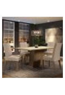 Conjunto Sala De Jantar Madesa Flavia Mesa Tampo De Madeira Com 4 Cadeiras - Rustic/Crema/Imperial