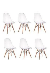 Cadeira Império Brazil Cadeira Charles Eames Eiffel Wood - Policarbonato Transparente