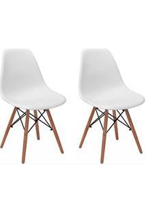 Kit 02 Cadeiras Eiffel Charles Eames F01 Branca Base De Madeira Dsw -