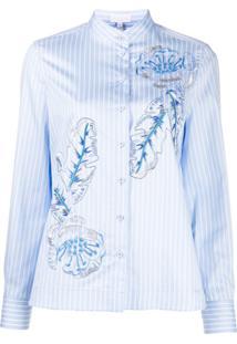 Escada Sport Pin Stripe Leaf Print Shirt - Azul