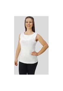 Blusa C/ Franja No Decote Tomasini Tricot Primavera/Verão Branco