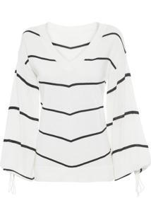 Blusa Feminina Tricô Listrada - Off White