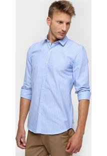 Camisa Lacoste Manga Longa Listras Slim Fit - Masculino