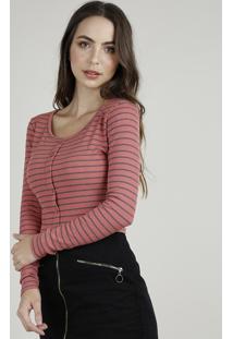 Blusa Feminina Básica Cropped Listrada Com Botões Manga Longa Decote Redondo Rosa