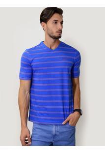 Camiseta V Listrada Azul Royal