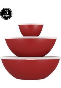 Saladeiras 3 Pçs Com Tampa Essential Vermelho Coza