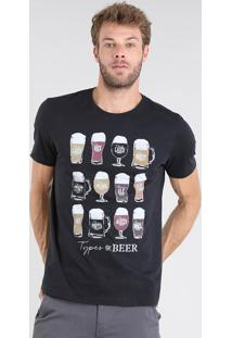 "Camiseta Masculina ""Types Of Beer"" Manga Curta Gola Careca Preto"