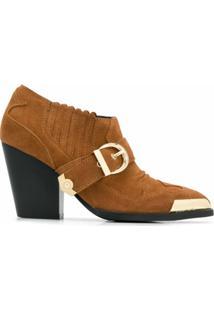 Versace Jeans Couture Ankle Boot Com Aplicação Metálica - Marrom