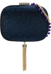 Serpui Clutch Com Aplicação - Azul