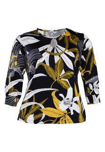 Blusa Almaria Plus Size New Umbi Decote Vazado Amarelo