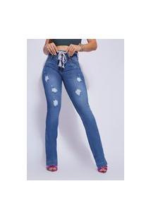 Calça Jeans Feminina Flare Destroyed Com Cordáo Vt894402