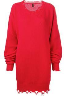 Unravel Project Vestido Canelado - Vermelho