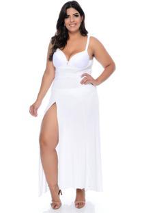 Camisola Vislumbre Longa Branca Plus Size Com Bojo E Renda