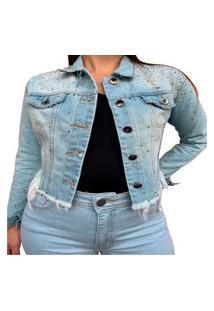Jaqueta Cropped Jeans Claro Feminina Strass Djn Azul