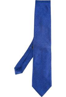 Etro Gravata Texturizada De Seda - Azul
