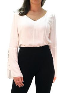 Blusa 101 Resort Wear Tunica Decote V Viscose Off White