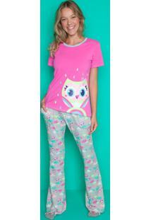7d4eb5ffc427b8 Puket Pijama Manga Curta Coruja Visco Adulto