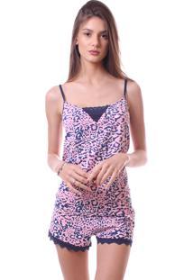 Pijama Simony Lingere Shorts Doll Plus Size New Confort E Renda Rosa - Kanui