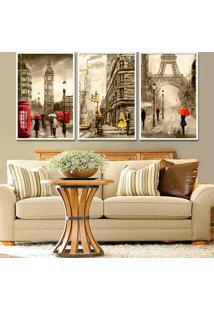 Quadro 60X120Cm Londres Nova Iork Paris França Sépia Detalhes Vermelho Amarelo Moldura Branca